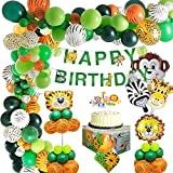 MMTX Animal Birthday Party Decoration Kids, Jungle Safari Happy Birthday Decoration Banner