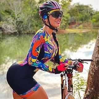 Damen Triathlon Radfahren Jersey Sets Overall Langarm Fahrrad Fahrrad Reiten Kleidung Skinuit Team Uniform Radiersets (Col...