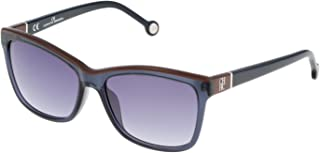 Carolina Herrera Women's SHE598 Rectangular Sunglasses Blue 55 mm