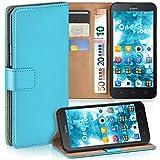 moex Premium Handytasche kompatibel mit Huawei Y625 - Klapphülle mit Kartenfach und Ständer, magnetische Handy Tasche - Flip Case Schutzhülle, Türkis
