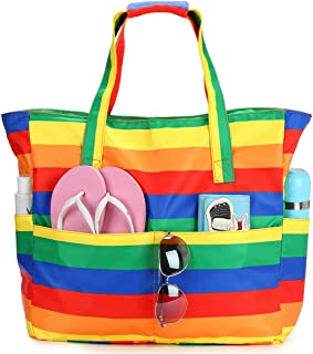Beach Pool Bags Tote for Women Ladies Large Gym Tote Carry On Bag With Wet Compartment for Weekender Travel Waterproof (Co...