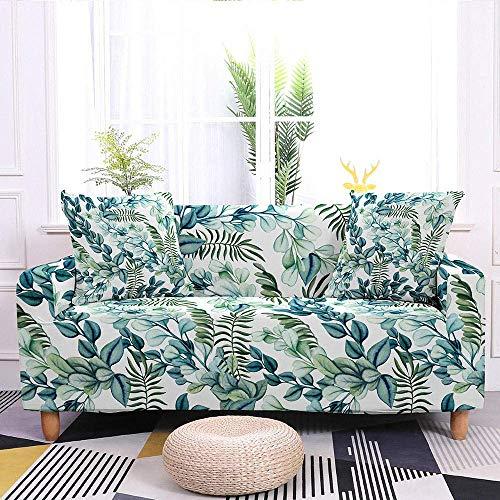 JXJ Stretch-Sofabezug für Ecksofa, Couch, tropische Blätter, bedruckter Sofabezug für Wohnzimmer, elastischer Stretchbezug, 3-Sitzer, 190-230 cm_04