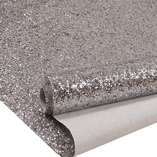 27in by 197in Silver Chunky Glitter Wallpaper, 3D Sparkly Glitter Fabric Wall Paper,Bling Wallcovering (Silver)