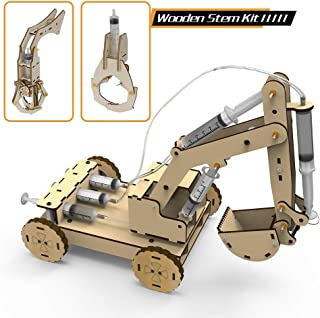 3D Wooden Construction Excavator Vehicle Toys Set, STEM Science Kit with Air Pressure System to Build A Wood Excavator Model Including 3 Replaceable Gripper & Digger for Kids and Adults