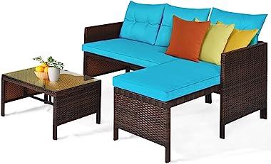Tangkula Patio Corner Sofa Set 3 Piece, Outdoor Rattan Sofa Set, Includes Lounge Chaise, Loveseat & Coffee Table, Patio Garde