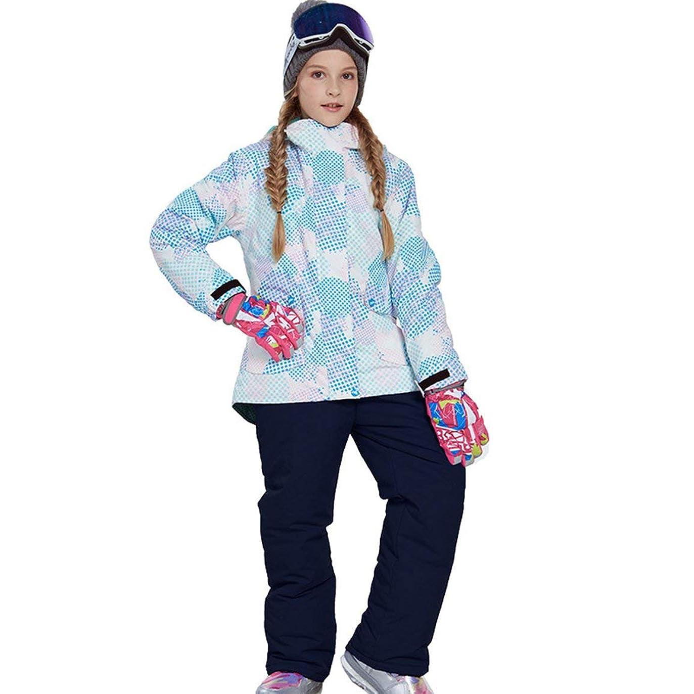 一方、代わって虹ラブリーボーイズガールズウィンタースノーボードパーカージャケットスノービブスノースーツセット暖かいスノースーツフード付きスキージャケット+パンツ2個セット-ネイビーブルー116