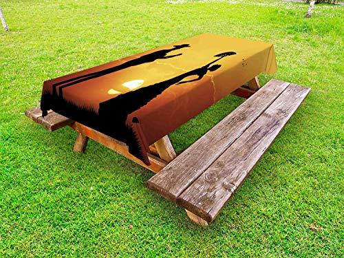 ABAKUHAUS Spaans Tafelkleed voor Buitengebruik, Danser van het flamenco gitaar, Decoratief Wasbaar Tafelkleed voor Picknicktafel, 58 x 84 cm, Geel Zwart Donker Oranje