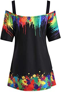 2019 Women Plus Size Tie-Dye Printed Cold Shoulder Blouse Sling Casual Short Sleeve T-Shirt Tunic Tops Nmch