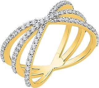 Diamond Criss Cross Orbit Ring in 14k Gold (5/8 cttw, J-K, SI2-I1)