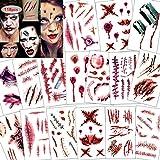 Konsait 120pcs Halloween Scars Tattoos, Halloween Bleeding Wound Temporary Tattoo, Zombie Vampire Makeup Bite Tattoo, Waterproof Fake Blood Tattoo for Kids Women Men Halloween Party Cosplay Costume