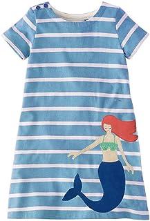 5efe85495515d Fille Tenue décontractée, Petite fille sirène rayé coton occasionnel d été  robe enfants bébé