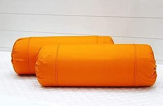 Aurave Excel Cotton 2 Pieces Plain Bolster Cover Set - 16 X 32 inches, Orange