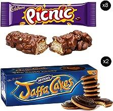 McVities Jaffa Cakes Two Boxes + Cadbury Picnic Bar | Total 8 bars of British Chocolate Candy - Cadbury Picnic Bars 48.g each