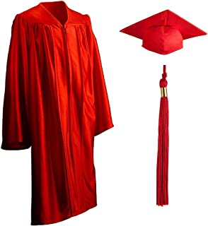 Child, Shiny, Graduation Gown, Cap and Tassel Set Incl 2019 & 2020 Signets, 100% Knitted Polyester, Multiple Colors and Sizes