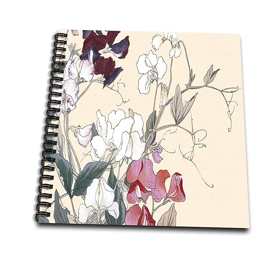 3dRose db_172951_1 Sweet Peas in Red and White and Deep Red Drawing Book, 8