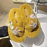 Pantuflas Mujer Invierno Casa Baratas,Zapatillas Exteriores para Mujer, 2021 Nuevas Zapatillas Peludas Rojas De Red De Fondo Plano De Moda De OtoñO E Invierno del Todo-FóSforo-UE 37 (235 Mm / 9,25')