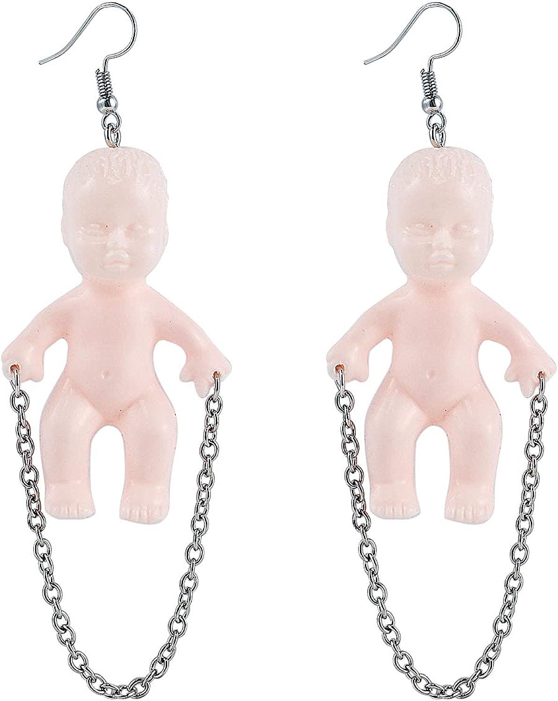 Creative Cute Handmade Doll Reisn Dangle Drop Earrings Creepy Baby Doll Earrings for Women Girl Funny Halloween Party Jewelry Gift