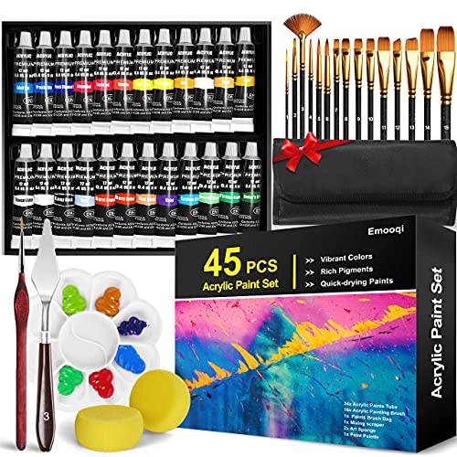 Acrylic Paint Set, Emooqi 45 Piece Professional Painting Supplies Set, Includes 24 Acrylic...