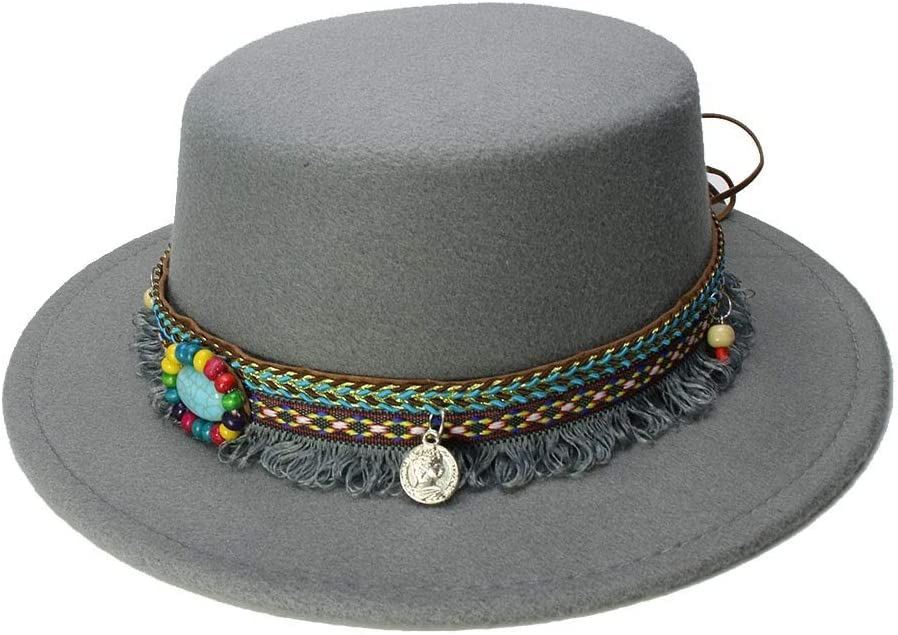 Fashion Kid Wool Wide Brim Cap Girl Fedora Bowler Hat Tassel Turquoise Leather Band,Lightweight,Breathable (Color : Gray, Size : 52-54CM)