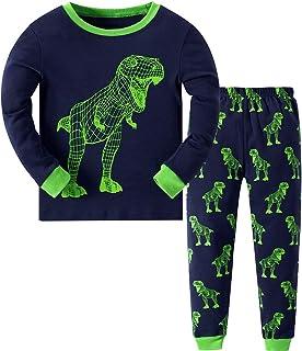 MIXIDON Niño Pijamas Dos Piezas Dinosaurio Ropa de Dormir 100% Algodón Manga Larga Pijamas para Niños 2-10 Años