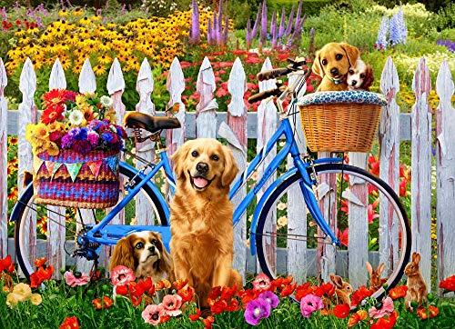 Bdgjln Puzzle 1000 Piezas-Perro de arbusto de flores-Puzzle1000PiezasAdultosRompecabezasJuegodeCartasparaInfantilesAdolescentes-50x75cm
