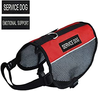 """PRETTYPETS Lightweight Service Dog Vest Cool Red Mesh Harness with 2 Free Removable Service Dog and 2 """"Emotional Support"""" Patches"""