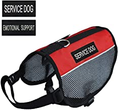 "PRETTYPETS Lightweight Service Dog Vest Cool Red Mesh Harness with 2 Free Removable Service Dog and 2 ""Emotional Support"" Patches"