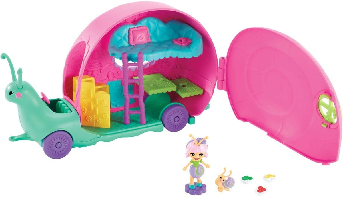 Enchantimals GCT42 Slow-Mo Camper Vehicle Playset With Saxon Snail Doll