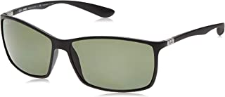 RAY-BAN RB4179 Liteforce Square Sunglasses, Matte Black/Polarized Green, 62 mm