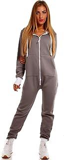 Crazy Age Basic Jumpsuits Ganzkörperanzug Einteiler One Piece Schlafanzug Overall Damen Jumpsuit Kuschelig und warm
