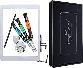 Trop Saint® Für iPad AIR 1 Touchscreen Digitizer Glas Display Scheibe in Weiß mit Rahmen, Homebutton und Werkzeug (A1474, A1475, A1476)