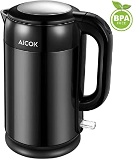 Electric Kettle Double Wall Stainless Steel Kettle, 1500W Ultra Fast Cordless Water Boiler, 100% BPA free with British Strix for Auto Off and Boil Dry Protection, 1.7L, by Aicok