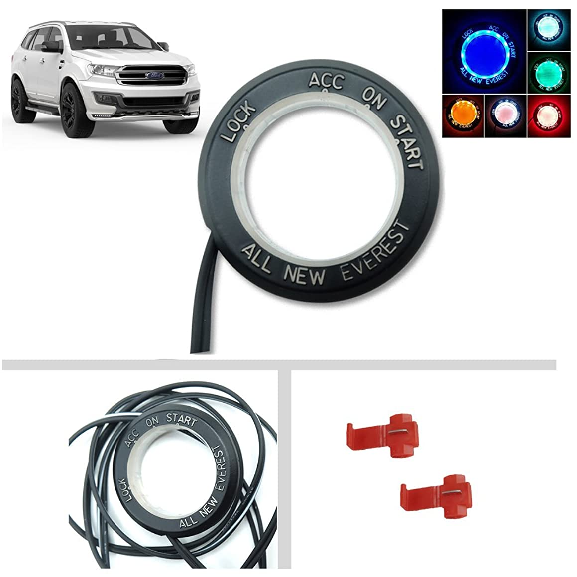 Powerwarauto Remote Start Key Hole LED Light Ring Cover Trim For Ford Everest Suv 2015 2016 2017 2018