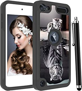 Voanice for iPod Touch 6 Case,iPod Touch 7 Case,iPod Touch 5 Case,Shockproof Heavy Duty Hard PC& TPU Dual Layer Hybird Protective Armor Cute Cover for iPod Touch 7th /6th /5th Generation-Cat and Tiger