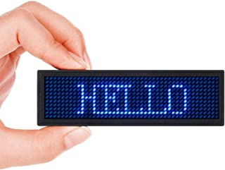 Scrolling Name Tag MECO LED Moving Message Sign Business Card Label Rechargeable ID Badge EZ Programming Display Dimmable Micro-USB Screen 48x12 Pixels Magnet & Pin Free Drive - Blue