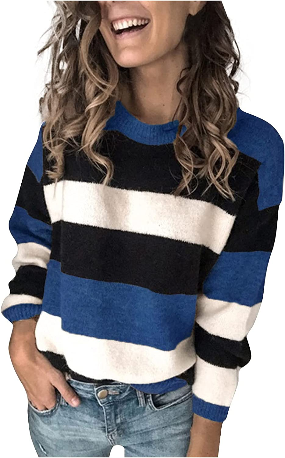 Womens Sweaters Casual Long Sleeve Crewneck Stripe Patchwork Pullover Knit Sweater Top