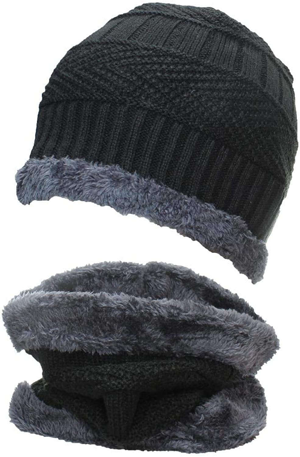 Best Winter Hats Adult Insulated Beanie & Neck Warmer Set W Faux Fur Liner