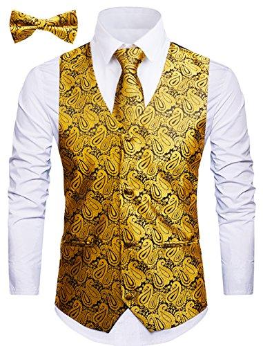 WANNEW Mens Vest Suit Vests Tuxedo Vest Vest for Men(XX-Large, Gold 2#)