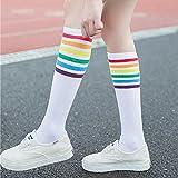 Briskorry Regenbogen Streifen Fußball Sport Socken 1 Paar Mädchen Schenkel Hoch Sockene