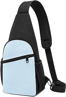 Rb Little Plaid Blue Sling Bag - Mochila ligera para el hombro, mochila para el pecho, bolsa cruzada, para viajes, senderi...