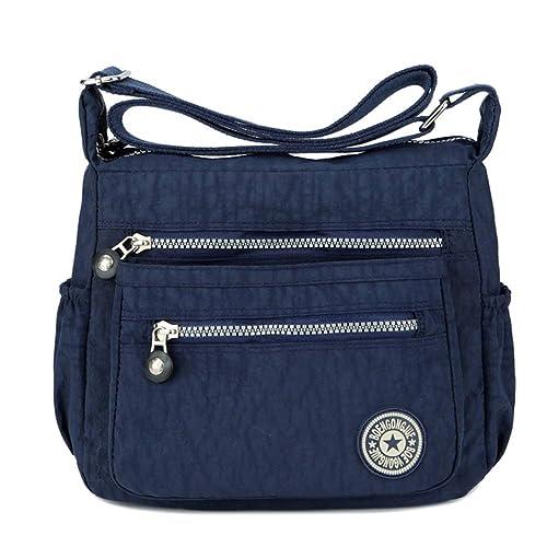 ca08240af7d6 Women s Casual Multi Pocket Nylon Messenger Bags Cross Body Shoulder Bag  Travel Purse