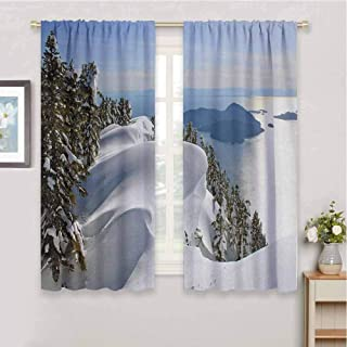 zojihouse Winter Pacific Ocean Meets The Mountains Vancouver British Columbia Canada Window Curtain Fabric White Olive Green Blue Blackout Draperies for Bedroom W55xL63