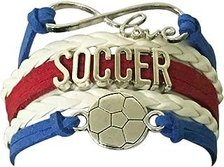 Sportybella Soccer Charm Bracelet - Infinity Love Adjustable Charm Bracelet with Soccer Charm for Her