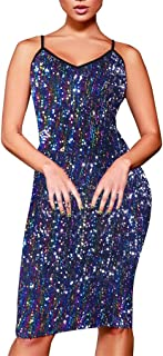 Sexy Sequin Sling Plus Size Bodycon Evening Party Knee Length Dress for Womens