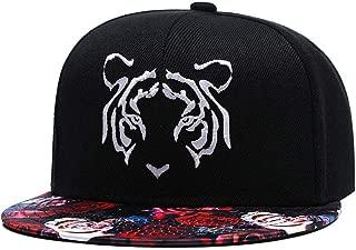 Tiger Embroidered Floral Snapback Hat 3D Rose Floral Print Visor Caps Twill Flat Bill Adjustable Baseball Cap