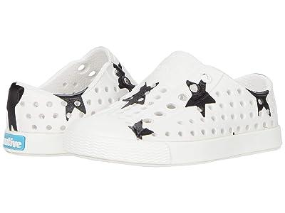 Native Kids Shoes Jefferson Print (Toddler/Little Kid) (Shell White/Shell White/Jiffy Black Big Star Print) Kids Shoes
