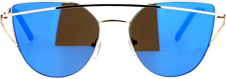SA106 Revo Mirror Unique Double Wire Brow Cat Eye Sunglasses gold bluee