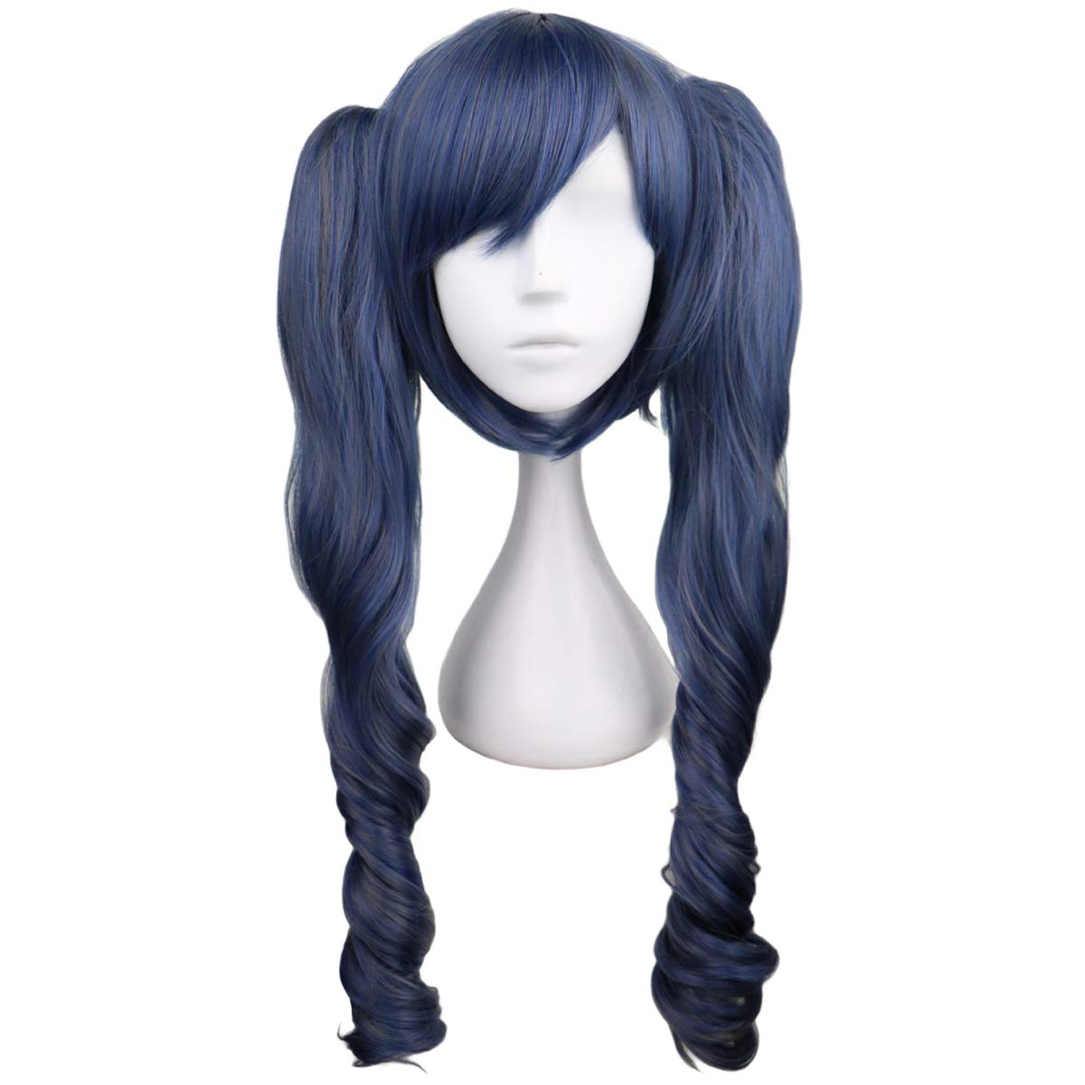EZ2WORLD Blue Mixed Gray Curly Anime 2 Ranking TOP4 Manufacturer direct delivery Wig Cosplay Ponytail with