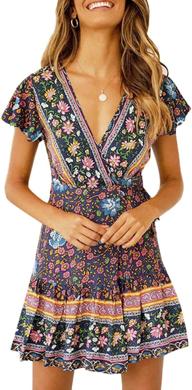 Chuanqi Womens Bohemian V Neck Short Sleeve Summer Dress Ruffles Mini Short Floral Dresses