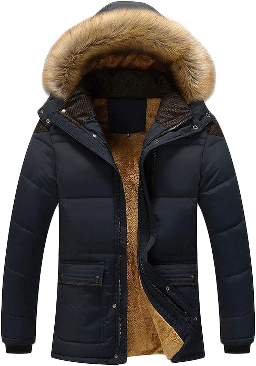 Jenkoon Men's Hooded Faux Fur Lined Warm Coats Outwear Parka Jackets